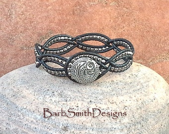 Black Silver Leather Wrap Cuff Bracelet - The Dainty One in Black n' Silver - Customize It!