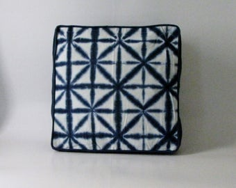 Pouf Cover,Floor Cushion Cover,Indigo ,Ottoman,18 x 18 x 5 inches. Shibori,Tie dye.Bohemian,boho floor pillow.