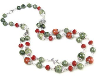 Serpentine necklace stone jewelry for grandma green necklace Coral jewelry for mothers necklace & earrings set Green gemstone jewelry gift