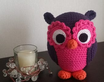 Stuffed animal Amigurumi OWL Eggplant-pink