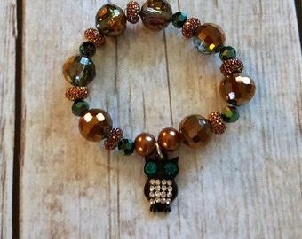Stretch Bracelet with Owl Charm