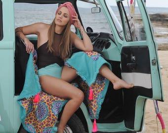 serviette de plage, format 90 x 180 cm, sac de plage, à la main, coussin, d'été, vacances, roses, personnalisés, pompons, couverture, cadeau, cadeau de mariage, cadeau d'anniversaire