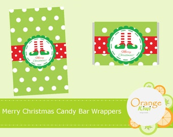 Merry Christmas Candy Bar Labels, Holiday Candy Bar Wrappers, Christmas Party Favor Labels
