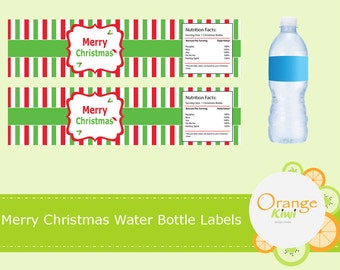 Merry Christmas Water Bottle Labels, Waterproof Christmas Stickers, Christmas Water Bottle Wraps, Holiday Stickers