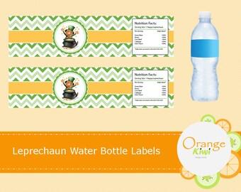 Leprechaun Water Bottle Wraps, St Patrick's Day Leprechaun Water Bottle Labels, Waterproof Labels, St Pattys Day Party Decor