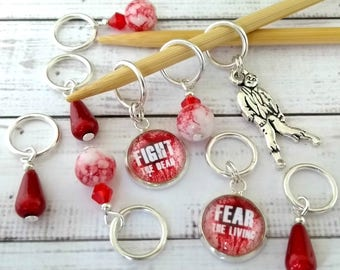 zombie stitchmarkers - horror stitch markers - bloody red blood drop place holder -  progress keeper  - knitting or crochet