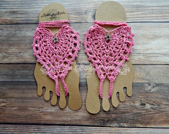 Pink barefoot sandals, Crochet shoes, Boho sandals, Stars Jewelry for feet, Ladies sandals, Yoga sandals, Festival sandals, Beach wedding,