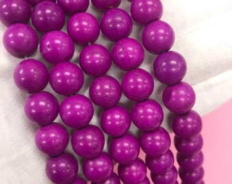 Purple Synthetic Turquoise,6mm Purple Howlite Turquoise,8mm Purple Synthetic Turquoise,10mm Purple Synthetic Turquoise,12mm Howlite Purple