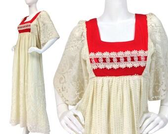 Vintage Clothing, Crochet Dress XS S, Boho Dress, Lace Dress, 70s Maxi Dress, Hippie Dress, Ivory Dress, Long Dress, SIZE XS S 2 4