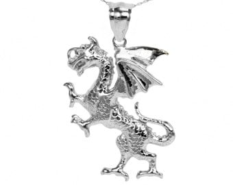10k White Gold Dragon Necklace