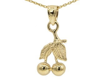 14k Yellow Gold Cherry Necklace