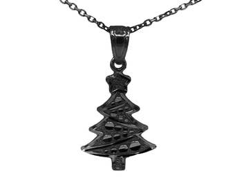 14k Black Gold Christmas Tree Necklace