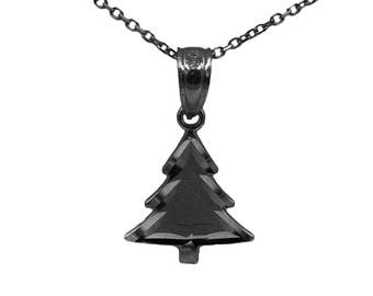 925 Black Sterling Silver Christmas Tree Necklace