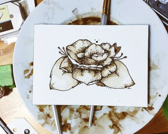 4x6 Print of Postcard Peony Coffee Illustration