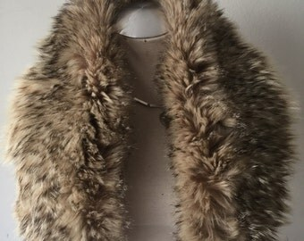 Brown with gray pile women's soft fur collar, from real wolverine, festive look, fluffy fur, vintage style, size - universal.