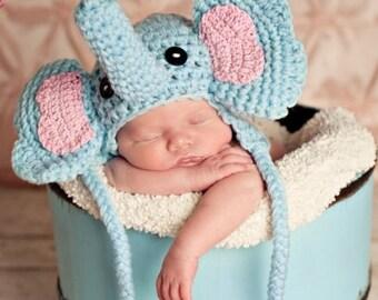 Crochet Newborn Elephant Photo shoot prop hat