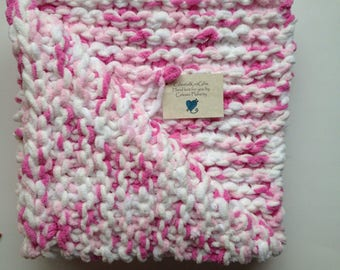 Ready to Ship Baby Girl Blanket, Pink Crib Afghan, Welcome Baby Gift