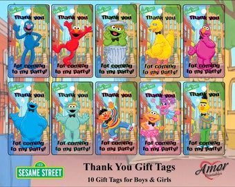Sesame Street Gift Tags, Thank You Tags; Printable Gift Tags; Party Printables; Sesame Street Printables