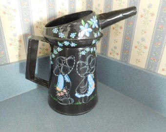 Vintage Galvanized Metal Watering Can/Planter in Amish Design