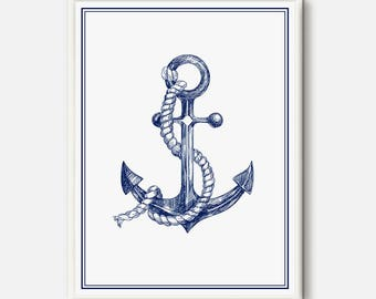 Nautical Decor, Anchor print, White and Blue poster, Nautical wall Art, Anchor art, Nautical printable, Blue Digital Art, Anchor Hand Drawn