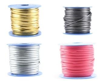 1m flat leather  3x2mm ((Gold, silver, lead (dark gray), fuchsia (pink))