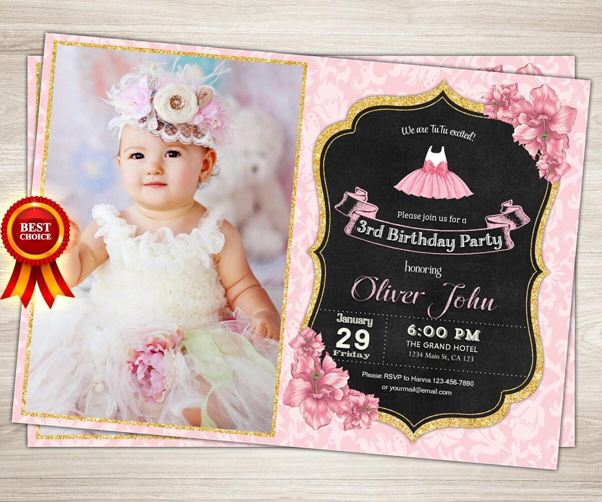 Tutu Birthday Invitation Girl 1st birthday Pink and Gold Tutu ...