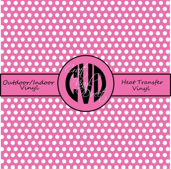 Polka Dot Patterned Vinyl // Outdoor and Heat Transfer Vinyl // Bubble Gum Pink Polka Dot Craft Vinyl and Heat Transfer Vinyl in Pattern 502
