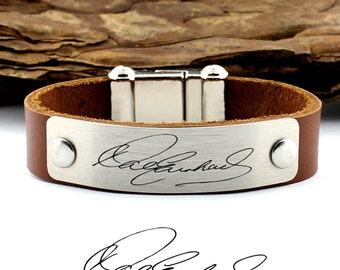 Personalized Handwriting Bracelet, Actual Handwriting, Signature Bracelet, Leather Cuff Bracelet, Custom Handwriting, Handwriting Jewelry