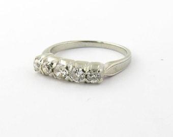 Vintage 14K White Gold Diamond Wedding Band Size 4 #847