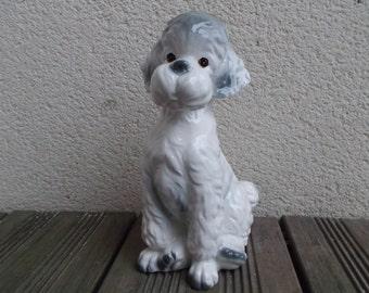 Poodle porcelain statuette of a dog earthenware, deco vintage 80s