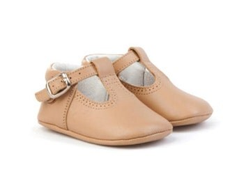 Baby moccs Tan leather T Strap pepito,  baby shoes, strap shoe.