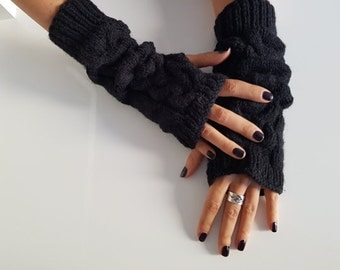 Black long wool arm warmers, Christmas gift for her, fall fashion gloves, fingerless gloves mittens, wrist warmers, winter knitted gloves
