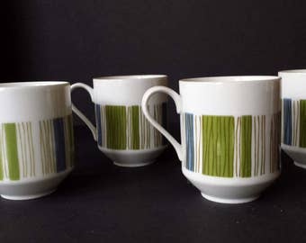 Four Mikasa Tropicana Coffee Cups Mugs