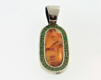 Glass Filled Tribal Mosaic Pendant- Sterling Silver