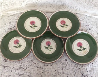 Stangl Pottery Green Thistle Saucers Dessert Plates with Pink Thistle