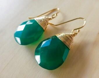 Green Onyx Earrings, Green Earring Teardrop Earrings Gold Filled Wire Wrapped Gemstone Earrings Emerald Green Small Simple Earring