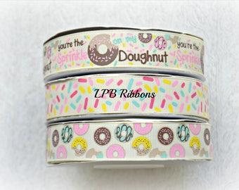 Donuts Ribbon, Sprinkles Ribbon, US Designer Ribbon, Ribbon by the Yard