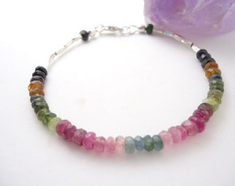 Tourmaline Bracelet Multi Tourmaline Bracelet Stackabel Bracelet Gift for her Sterling Silver Bracelet October Birthstone