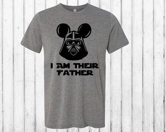 Men's Father's Day Darth Vader Tee!  Darth With Mickey Ears I Am Their Father Comfy T Shirt For Gifts or Disney Trips!  Nerdy Dad Gift