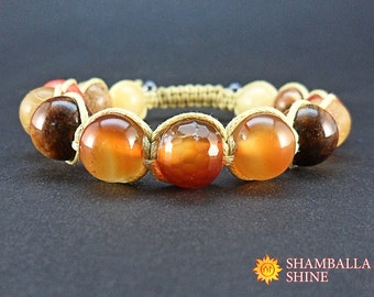 Woven orange bracelet Brown orange beads Orange natural gemstone Solar gemstone bracelet Orange carnelian agate Gemstone amulet bracelet