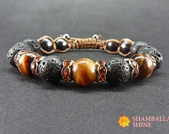 Lava stone jewelry Meditation mens bracelet Tiger eye natural beads Men gemstone bracelet Black brown stone Black shamballa bracelet