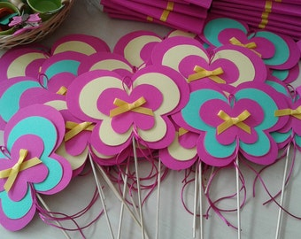 Butterfly Cupcake Toppers Centerpieces sticks  Birthday Party Decorations Stick Baptism Decoration Stick Shower party butterfly decoration