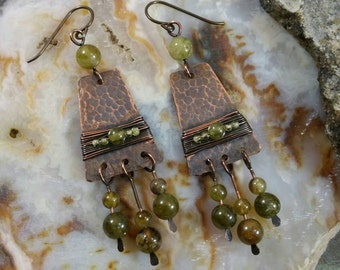Green garnet and copper earrings