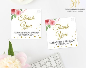 Floral Thank You Tag, Printable Party Tag, Watercolor Flowers, Pink Roses, Gold Confetti, Gold Glitter, Print Your Own, SH24 SH02 SH17