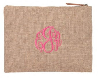 Monogrammed Zipper Pouch, Personalized Zipper Pouch, Bridesmaid Gift, Cosmetic Bag, Lingerie bag, Makeup bag, Gifts for her, Personalized