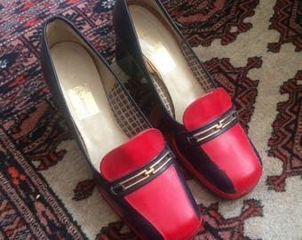 Vintage 1970s Red and Navy Blue Leather Loafers with Golden Metal Buckle - UK 4, EU 37, US 6