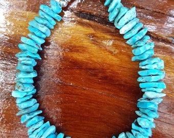 Genuine, Chunky, Blue, Turquoise Gemstone and Sterling Silver Bracelet, Chunky Turquoise Bracelet, Turquoise and Sterling Silver Bracelet