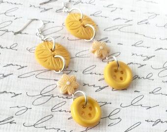 Yellow Button Earrings, OOAK, Dangle, Up Cycled Buttons, Vintage Buttons, Button Earrings, Long Earrings, Handmade