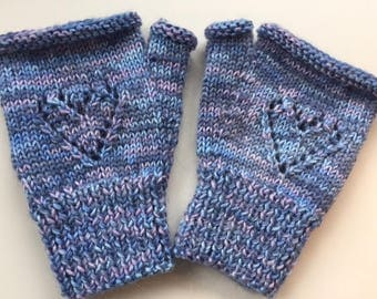 Warm heart, warm hands, hand knitted fingerless mitts - size M
