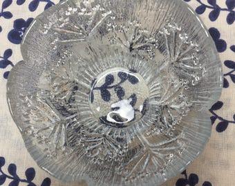 Vintage Finland Glass Bowl /Candle Holder Kulho, Koiranputki, Pertti Kallioinen, Mäntsälän lasisepät